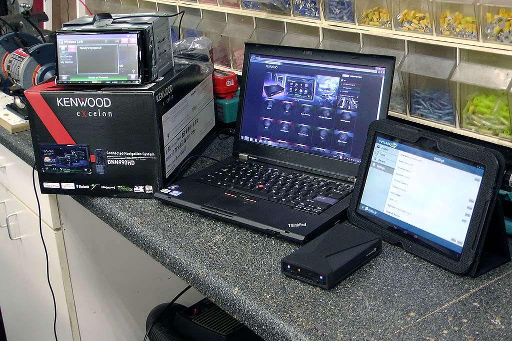 Kenwood DNN990HD and Voyager Air on bench