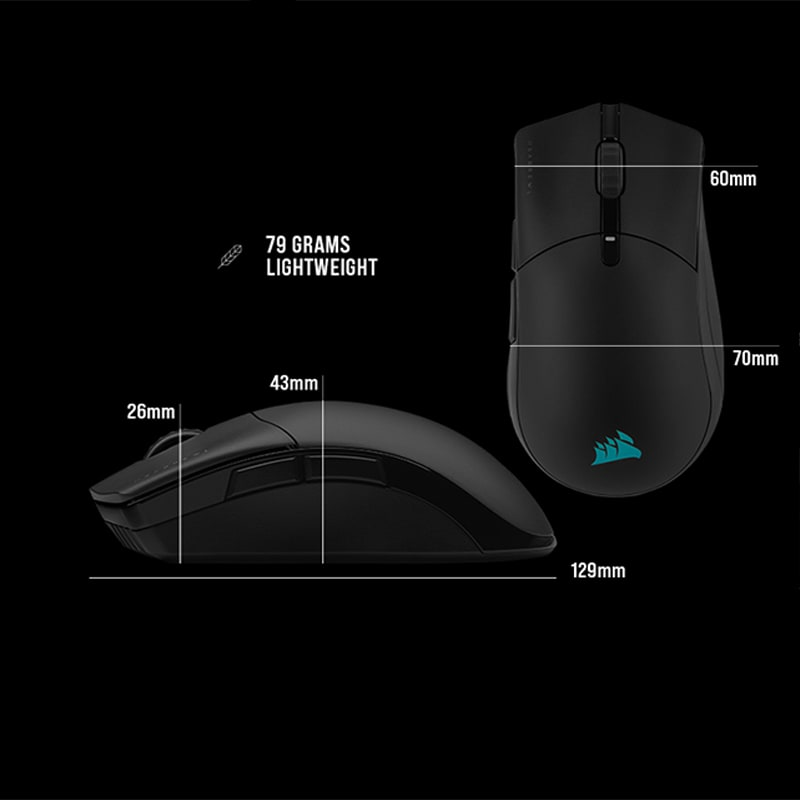 Measurements of the mouse, 129mm long, 70mm wide and up to 43mm tall