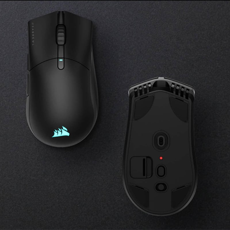 A view from both above and below of the Corsair Sare RGB Pro Wireless mouse