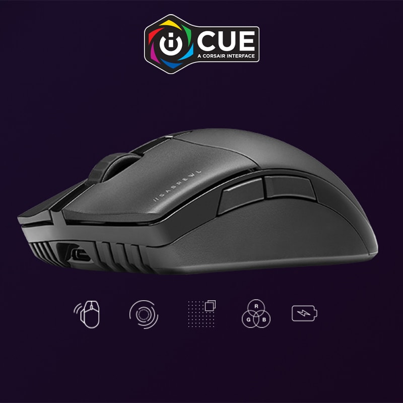 Several different lighting effects usable with the mouse with Corsair iCUE