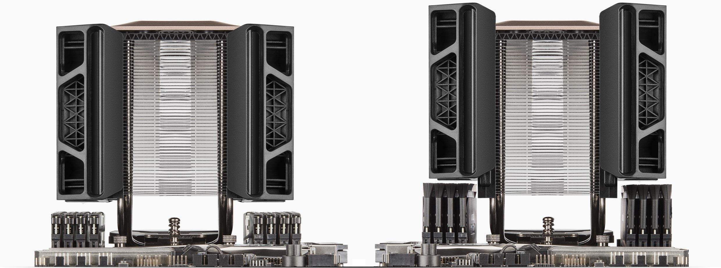 Side by side images that show how the fans can be moved in and out in order to fit high-profile RAM sticks.