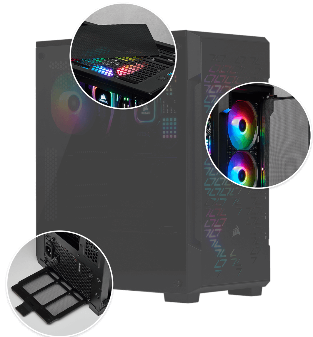 Corsair iCUE 220T RGB Airflow Tempered Glass Mid-Tower Smart Case — Black 9