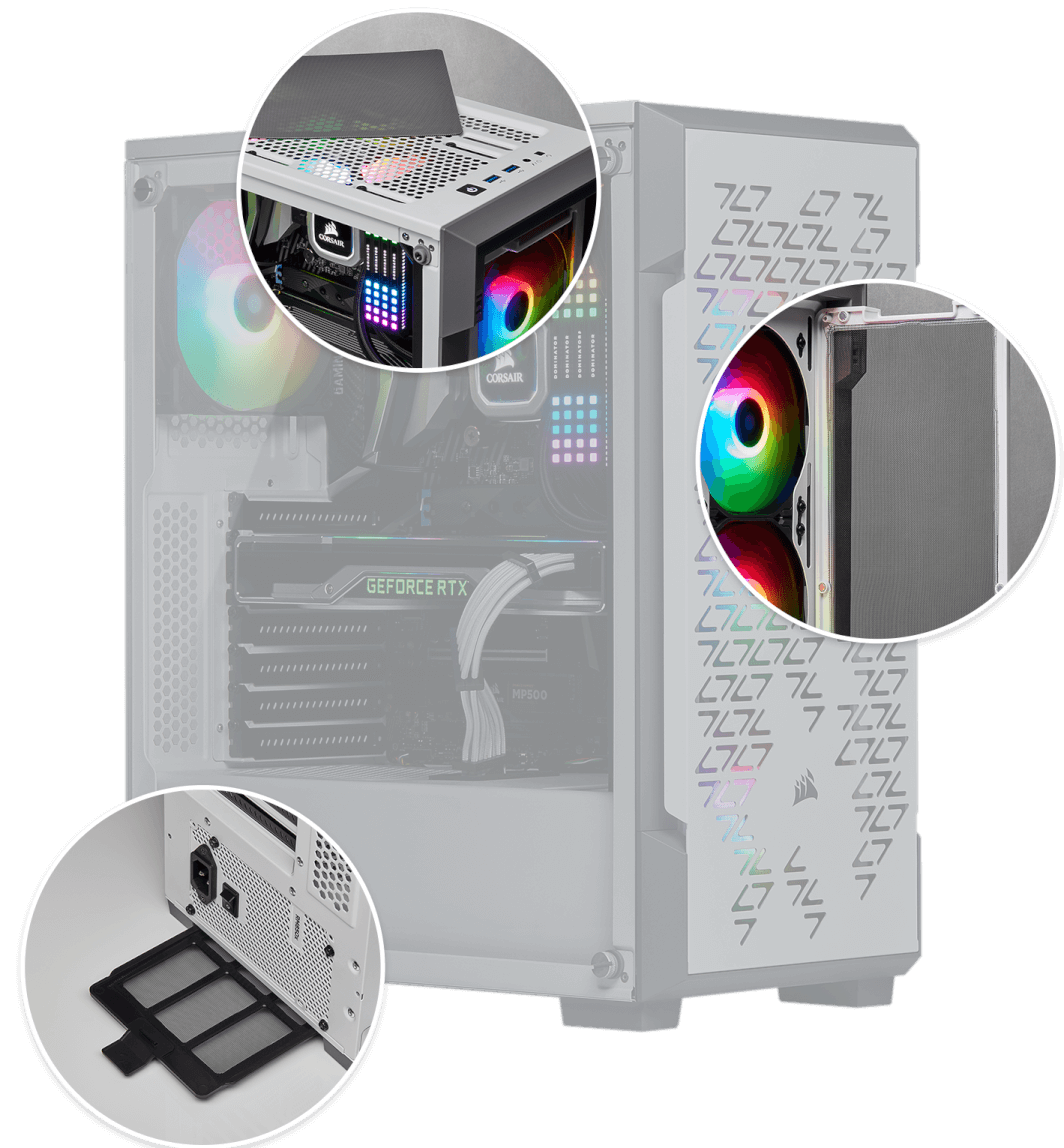 Corsair iCUE 220T RGB Airflow Tempered Glass Mid-Tower Smart Case — White 6