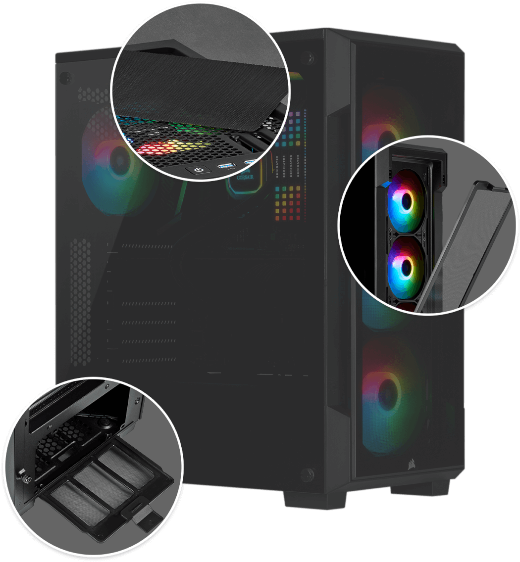 Corsair iCUE 220T RGB Tempered Glass Mid-Tower Smart Case — Black 11