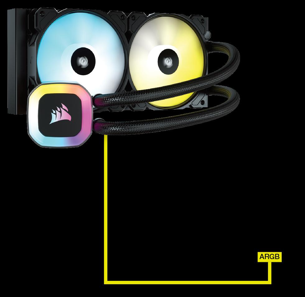 Bộ làm mát CPU lỏng CORSAIR H100 RGB - BẢNG ĐIỀU KHIỂN LINH HOẠT + HỖ TRỢ ARGB 5V